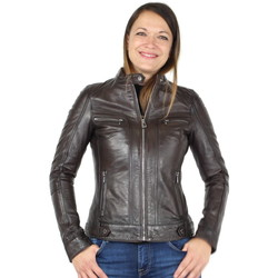 Vêtements Femme Blousons Daytona Blouson en cuir agneau ref_day30996 Reddish Brown Marron