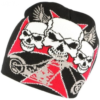 Accessoires textile Bonnets Nyls Création Bonnet tete de mort croix de Malte rouge noir Noir