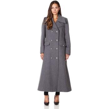 Vêtements Femme Manteaux De La Creme Long manteau d'hiver en laine et cachemire militaire Grey