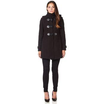 Vêtements Femme Manteaux De La Creme Manteau d'hiver à capuche en laine et cachemire Black