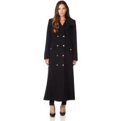 Vêtements Femme Manteaux De La Creme Long manteau d'hiver en laine et cachemire militaire Black