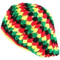 Accessoires textile Bonnets Nyls Création Beret Bonnet Rasta jaune vert rouge oversize Raygo Rouge