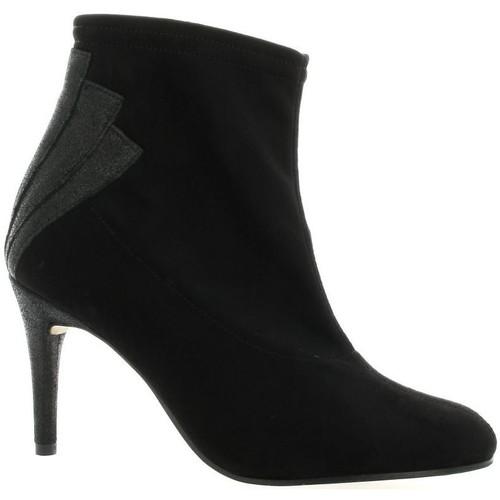 Chaussures Femme Bottines Elizabeth Stuart Boots stretch velours Noir