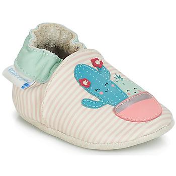 b28d5f506b9b9 Chaussures Fille Chaussons bébés Robeez CACTUS Ecru   Rose