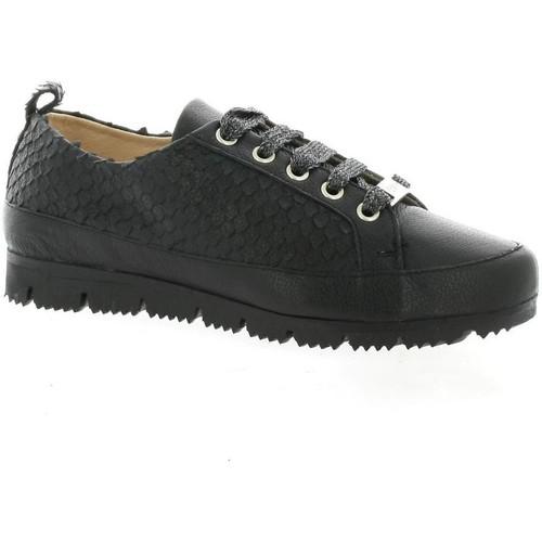 Chaussures Femme Baskets mode G-Max Baskets cuir serpent Noir