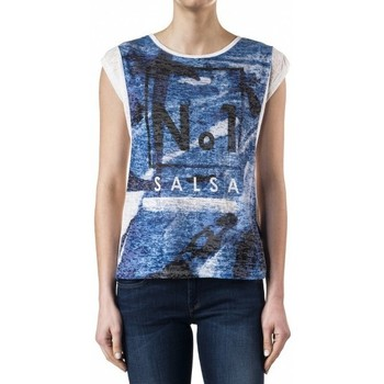 Vêtements Femme T-shirts manches courtes Salsa T Shirt  Maiorca blanc 112258 Noir