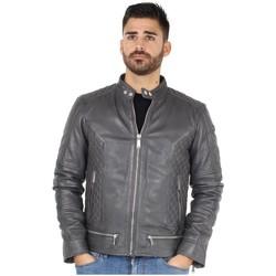 Vêtements Homme Blousons Redskins Veste  en cuir Lincoln casting ref_44611 Elephant gris