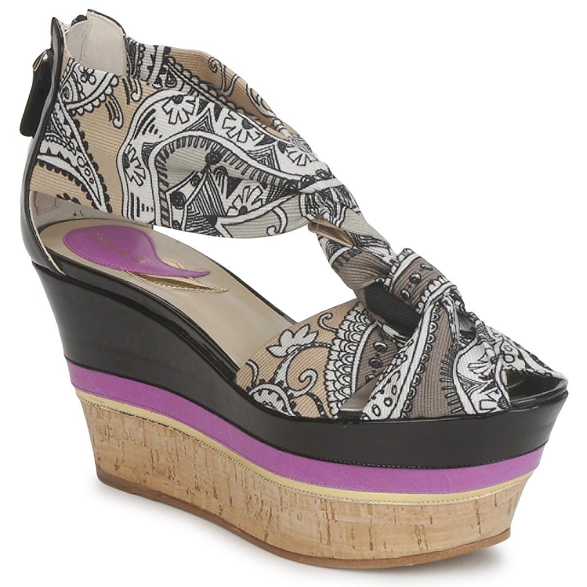 Sandale Etro 3467 Gris / Noir / Violet