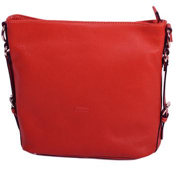 Sacs Femme Sacs porté épaule Katana Grand Sac a Main En Cuir De Vachette Grainé 69905 Rouge