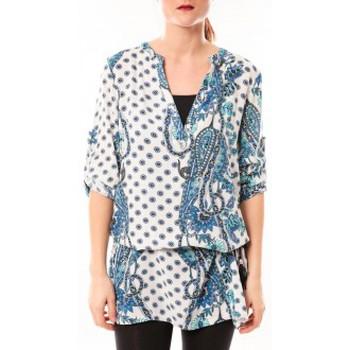 Vêtements Femme Robes courtes De Fil En Aiguille Tunique Love Look B 40 Bleu/Blanc Bleu
