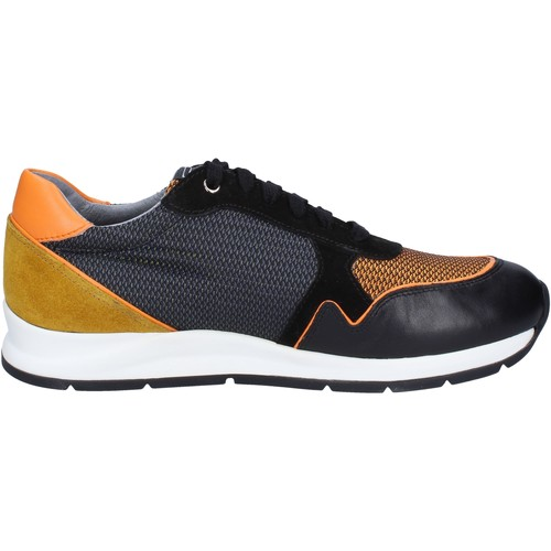 Chaussures Homme Baskets basses Roberto Botticelli sneakers noir cuir orange daim BT543 noir