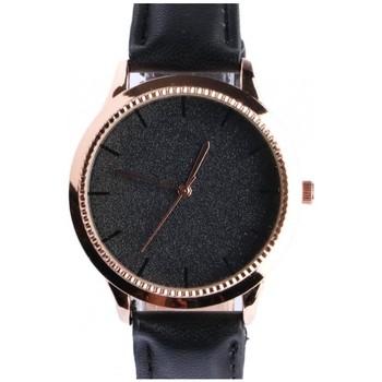 Montres & Bijoux Femme Montres Analogiques Michael John Montre femme doree strass noir bracelet cuir Staly Noir