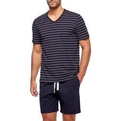 Vêtements Homme Pyjamas / Chemises de nuit Impetus Pyjama homme court rayé en coton organique Bleu
