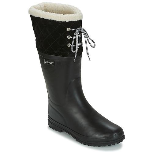 d7e7503753a9c Chaussures Femme Bottes de pluie Aigle POLKA GIBOULEE Noir