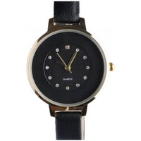 Montres & Bijoux Femme Montres Analogiques Michael John Fin bracelet montre femme noir dore strass classe Prestya Noir