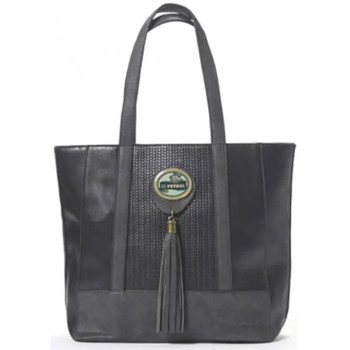 Sacs Femme Cabas / Sacs shopping Lili Petrol M Sac à main cabas  effet tressé et pompon noir CH Multicolor