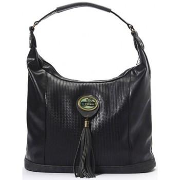 Sacs Femme Sacs porté épaule Lili Petrol Sac seau incurvé  effet tressé et pompon noir CH Multicolor
