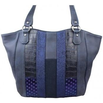 Sacs Femme Cabas / Sacs shopping Fuchsia Sac cabas  Elma patchwork croco étoile bleu marine bleu