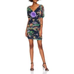 Vêtements Femme Robes courtes Guess Robe Slim Col Motifs fleur ALISON W83K56 Bleu 19