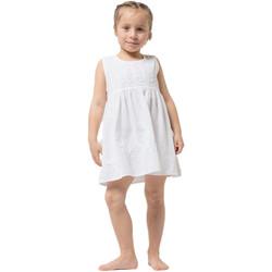 Vêtements Fille Robes courtes La Cotonniere ROBE COL ROND Blanc