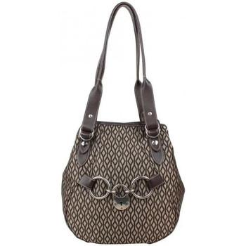 Sacs Femme Sacs porté épaule Texier Sac épaule  forme ronde motif textile et cuir Marron