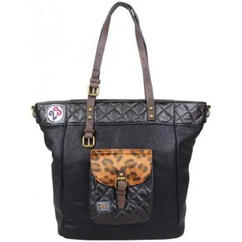 Sacs Femme Cabas / Sacs shopping A Découvrir ! Sac cabas effet léopard et surpiqué Noir