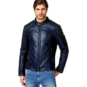 Blouson Guess Blouson Homme STRETCH QUILTED ECO LEATHER M83L10 Bleu