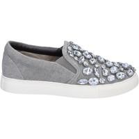 Chaussures Femme Slip ons Sara Lopez slip on gris toile pierres BT992 gris