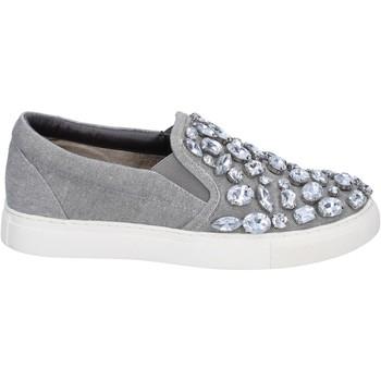 Chaussures Sara Lopez slip on gris toile pierres BT992