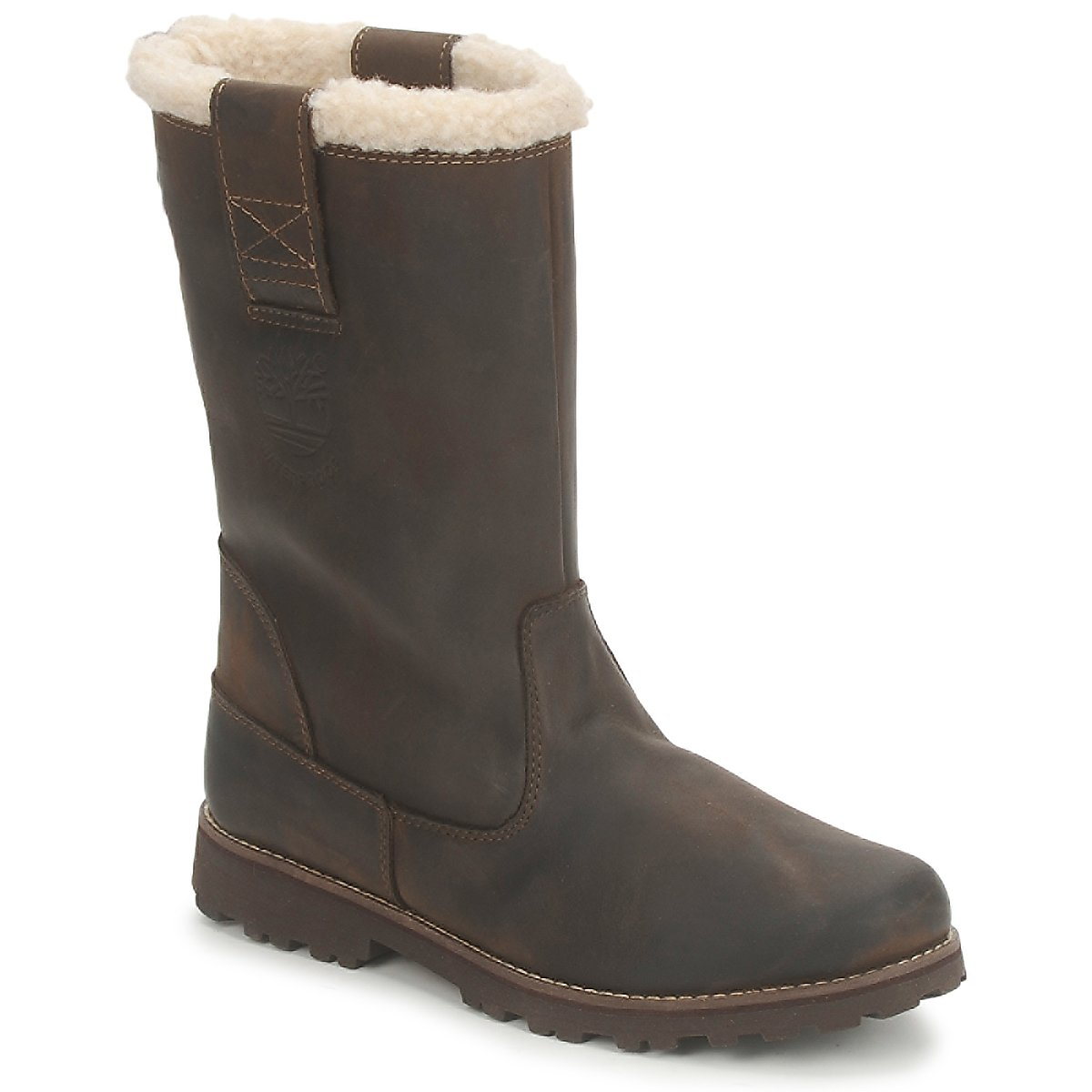 Botte ville Timberland 8 IN PULL ON WP BOOT WITH SHEARLING Marron foncé