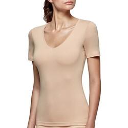 Vêtements Femme T-shirts manches courtes Impetus T-shirt col V tricot de peau nude femme régule la température Beige
