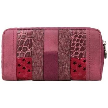 Sacs Femme Portefeuilles Fuchsia Portefeuille zip  Elma patchwork croco étoile bordeaux rouge