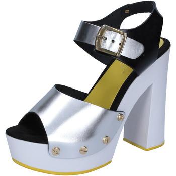 Chaussures Femme Escarpins Suky Brand femme  sasndales argent noir cuir BS16 argent
