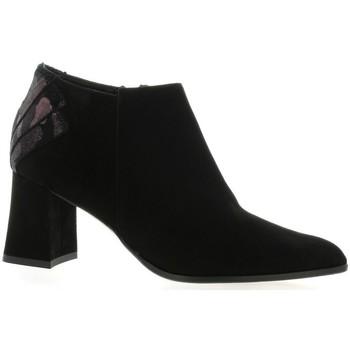 Chaussures Femme Low boots Elizabeth Stuart Boots cuir velours Noir/bordeau