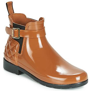 Chaussures Femme Bottes de pluie Hunter REFINED GLOSS QUILT CHELSEA Camel