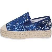 Chaussures Femme Mocassins Francescomilano mocassins bleu textile paillettes BS75 bleu