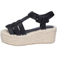 Chaussures Femme Sandales et Nu-pieds Francescomilano sandales noir cuir synthétique BS80 noir