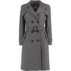 Vêtements Femme Trenchs De La Creme Trench-coat d'hiver en tweed à chevrons Black