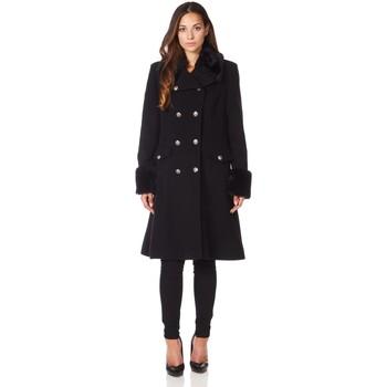 Vêtements Femme Manteaux De La Creme Manteau d'hiver de laine manteau cachemire militaire Black