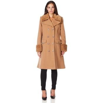 Vêtements Femme Manteaux De La Creme Manteau d'hiver de laine manteau cachemire militaire BEIGE