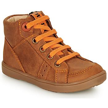 Chaussures Garçon Baskets montantes GBB ANGELITO Cognac / Orange