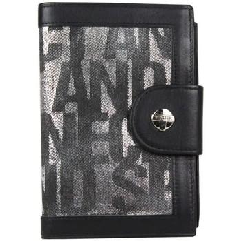 Sacs Femme Portefeuilles Texier Porte monnaie cartes toile brillante argent et cuir  1592 Noir / Gris
