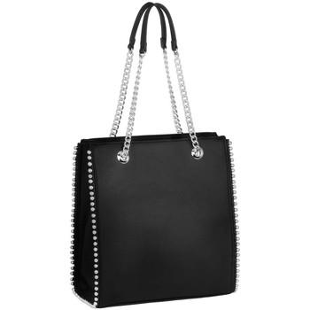 Sacs Femme Cabas / Sacs shopping Crazychic Shopper à Clous Billes - Sac à Main Epaule Chaînes Noir