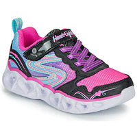 Chaussures Fille Baskets basses Skechers HEART LIGHTS Noir / Rose / LED