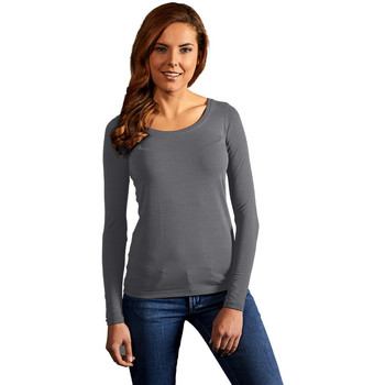 Vêtements Femme T-shirts manches longues Promodoro T-shirt slim manches longues Femmes gris acier