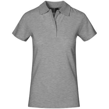 Vêtements Femme Polos manches courtes Promodoro Polo supérieur grandes tailles Femmes gris clair chiné
