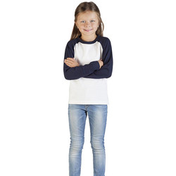 Vêtements Enfant T-shirts manches longues Promodoro T-Shirt Manches Longues Raglan Baseball Enfants blanc / bleu marine