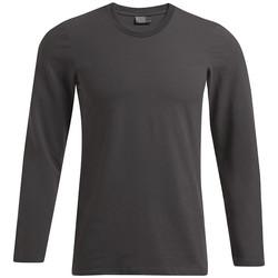 Vêtements Homme T-shirts manches longues Promodoro T-shirt slim manches longues grandes tailles Hommes noir