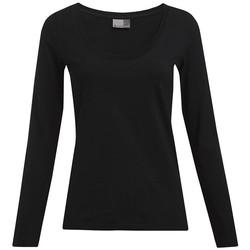 Vêtements Femme T-shirts manches longues Promodoro T-shirt slim manches longues grandes tailles Femmes noir