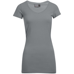 Vêtements Femme T-shirts manches courtes Promodoro T-shirt long col V slim grandes tailles Femmes gris foncé-mélange